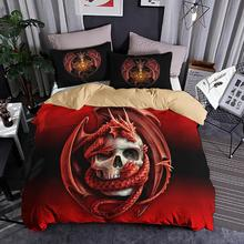 3D Skull Game Bedding Set Red Dragon Animal Duvet Cover With Pillowcase Twin Queen King Size Bed 3pcs Bedlinen Dropshipping