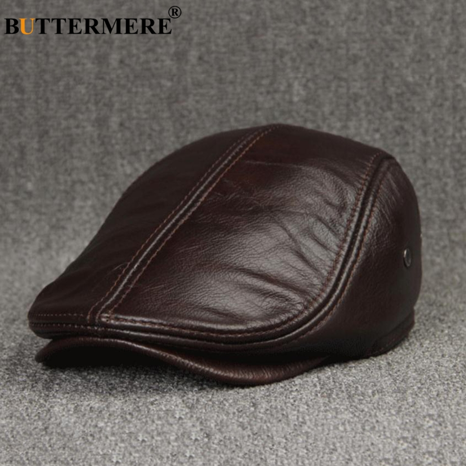 BUTTERMERE British Beret Men Genuine Leather Flat Cap Brown Male Earflaps Vintage Ivy Hats Autumn Luxury Directors Caps Gatsby in Men 39 s Berets from Apparel Accessories
