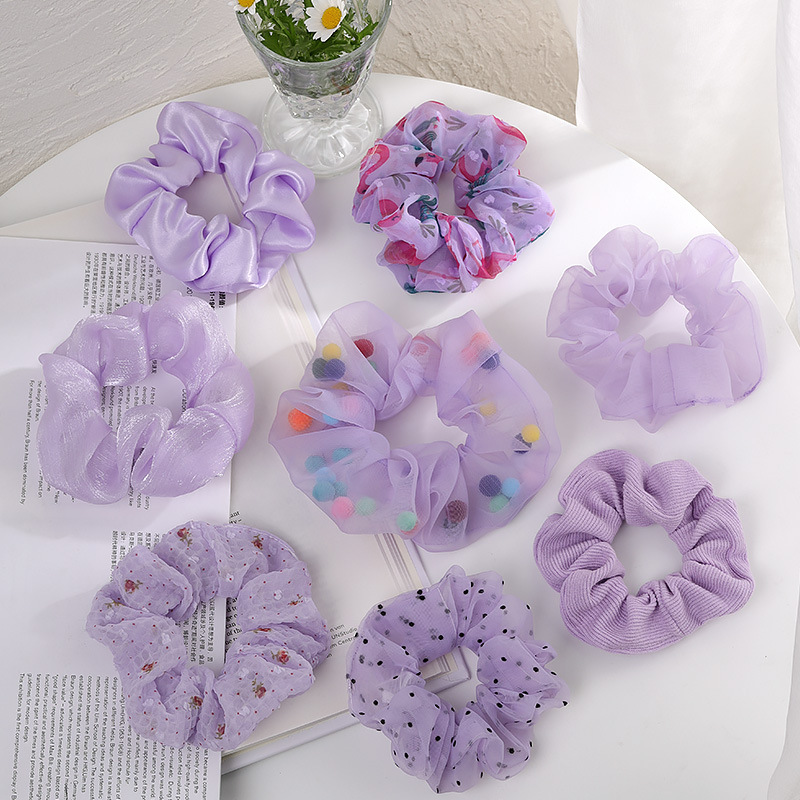 Women Fashion Hair Accessories Satin Hair Scrunchies Elastic Hair  Scrunchy Hair Ties Girls Chiffon Ponytail Holder Purple Lover