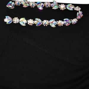 Image 5 - TAOVK יהלומי נשים של סריגת חליפות למעלה + סרוג מכנסיים שתי חתיכה להגדיר נשי חורף תחפושות מסלול נשים חליפה