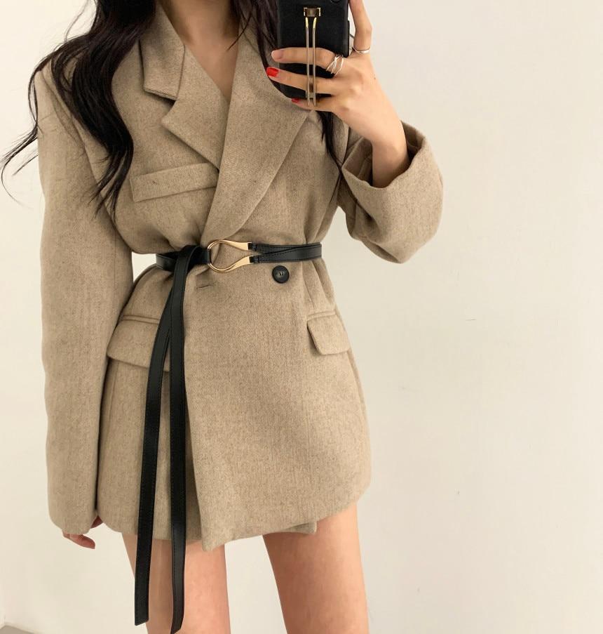 Winter women Long Sleeve Blazer Coat with belt Office Ladies Suit Jacket Spring Autumn blazers Coat Women Female JK398