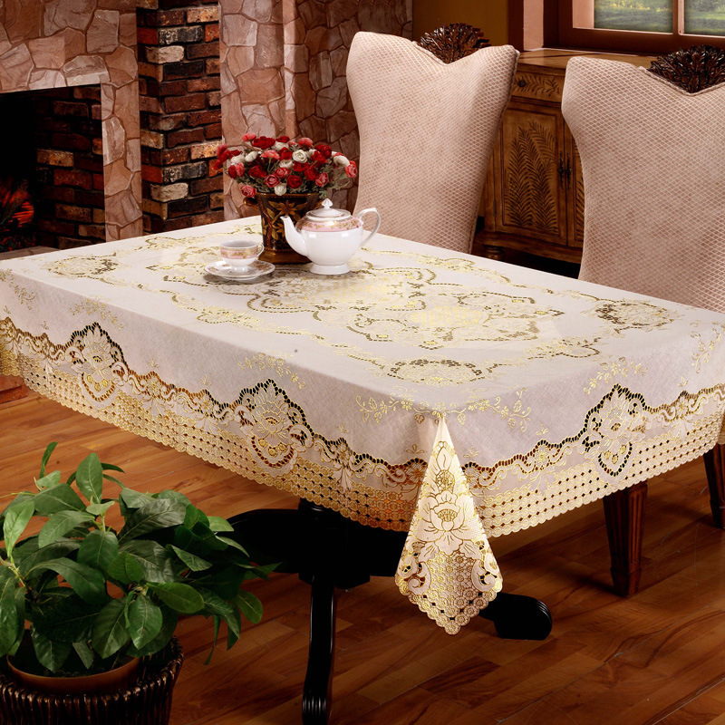 Light Yellow Waterproof Oil Proof Rectangle Home Decor Table Cover Dustproof Tablecloth Wedding Banquet TV Cabinet Cloth