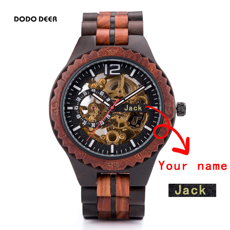 DODO DEER Waterproof Mechanical Watch Mens Automatique Wood Forsining Wristwatch Male Engrave Logo Brand Name Text Private Gift