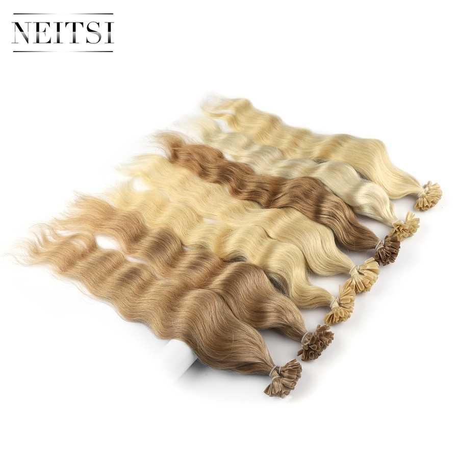 """Neitsi Machine Made Remy Human Fusion Hair U końcówka do paznokci naturalne fale Pred Bond doczepy do włosów z keratyną 20 """"1 g/s 18 kolorów"""