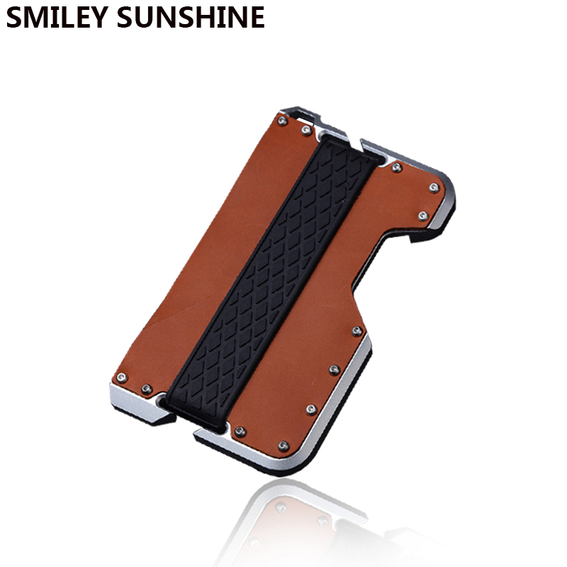 RFID Blocking Genuine Leather Credit Card Holder Men Fashion Aluminum Metal Creditcard Slim Minimalist Wallet Cardholder Case