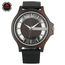 REDFIRE Transparent Hollow Wooden Men Watches Quartz Movement Genuine Leather Wristwatches Mens Watch Casual Wood Timepiece bobo bird all zebra wood men s quartz watch analog japan movement 2035 casual wooden band wood watches as gifts for men