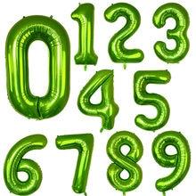 Balões verdes de folha de número, 40 polegadas, 0, 1, 2, 3, 4, 5, 6, 7, 8, 9, hélio, bolas verdes, feliz decoração de festa de aniversário e casamento, suprimentos