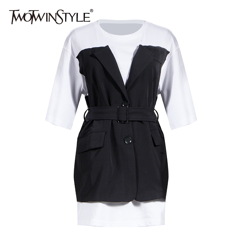 TWOTWINSTYLE Casual Patchwork Hit Color Women Dress O Neck Half Sleeve High Waist With Sashes Slim Dresses For Female Fashion