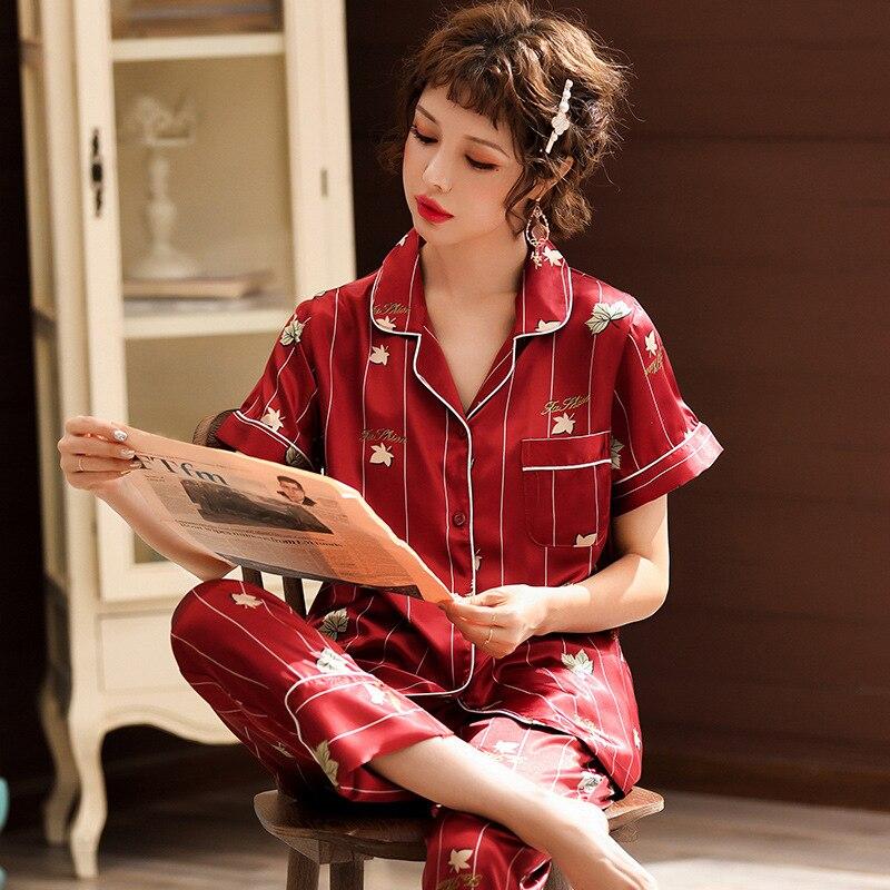 Viscose Pajamas Women's Summer Breathable South Korean Silk Two-Piece Set Korean-style V-neck Comfortable Extra-large Home Wear