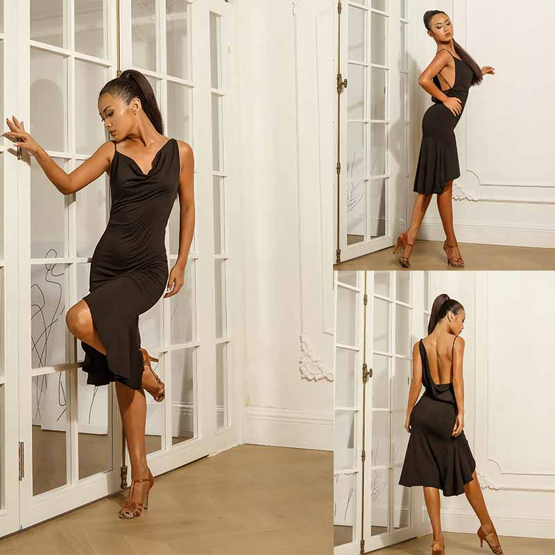 Sexy Latin Dance Dress Women Black Ballroom Tango Cha Cha Samba Rumba Salsa Competition Dresses Performance Dance Wear PY239