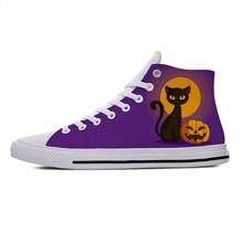 Кроссовки мужские/женские из дышащей ткани, модная Милая повседневная обувь с высоким верхом, с аниме мультяшным котом, тыквой на Хэллоуин, ...