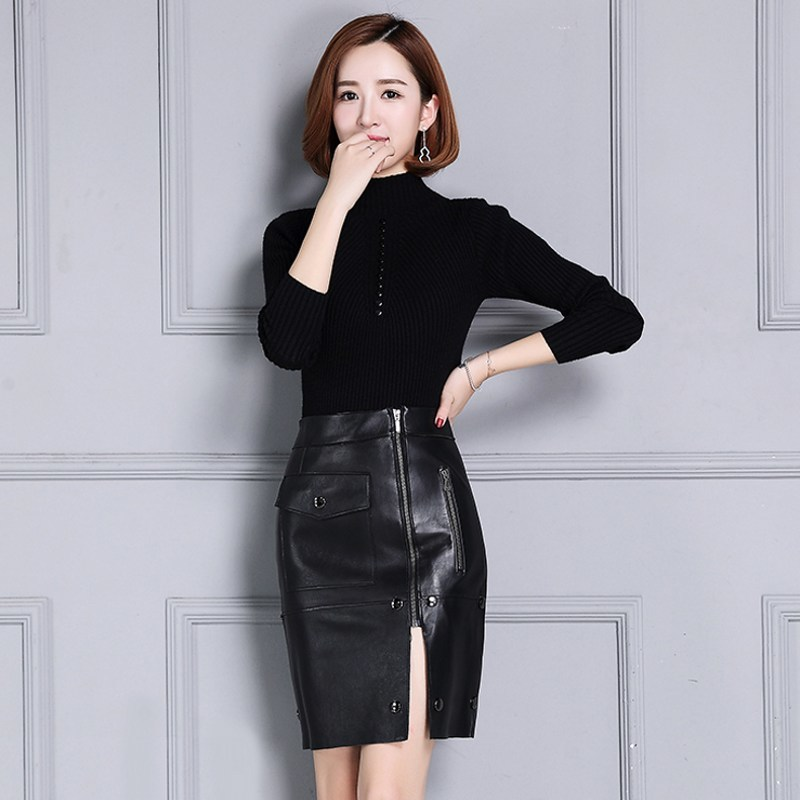 New Women 2020 Skirts Genuine Leather Streetwear Casual Natural Leather Sheepskin High Waist Wrap Buttons Zippers Female Skirts