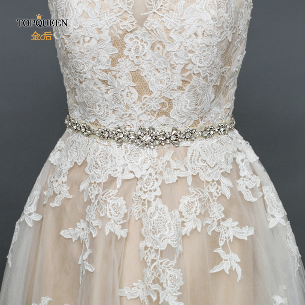 TOPQUEEN Rhinestone Bridal Belts Dress Sash Belt Women Dresses Pearl Belt Rhinestone Bridal Silver Diamond Rhinestone Belt S392