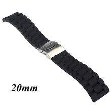 Черный силиконовая резина часы ремешок ремешок развертывания пряжка водонепроницаемый 20 мм 22мм W2952001