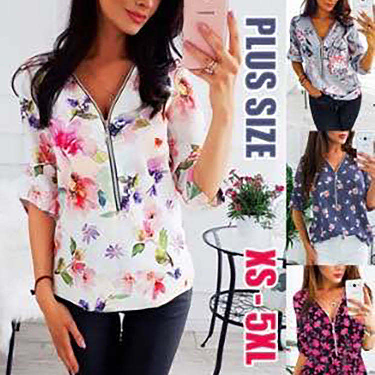 Fashion Summer Ladies Tops Blouse Plus Size 2020 Casual Women Shirt Half Sleeve Print Chiffon Shirt Streetwear Elegant Shirt