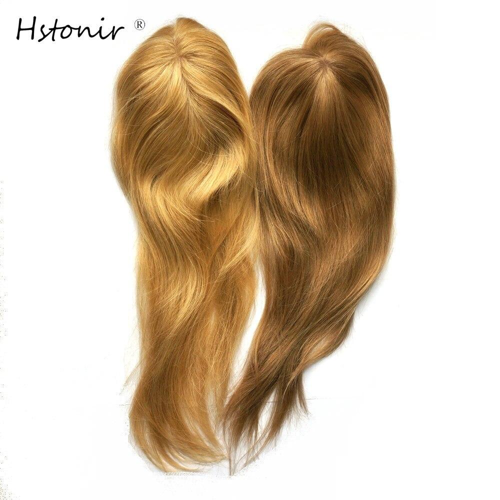 Hstonir Blond 613 Womens Toupee Clip Top Hairpieces Mono Wigs European Remy Hair Closure TP04
