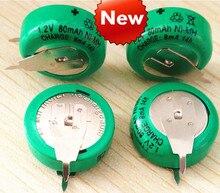Nouveau 1 pièces 10 pièces 1.2V 80mAh bouton nickel métal hydrure batterie rechargeable bouton 80mAh 1.2V avec soudure pied minuterie