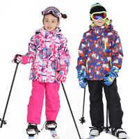 Traje de esquí para niños marcas impermeables cálido para niñas y niños chaqueta de nieve y pantalones de invierno esquí y prendas de snowboard para niños