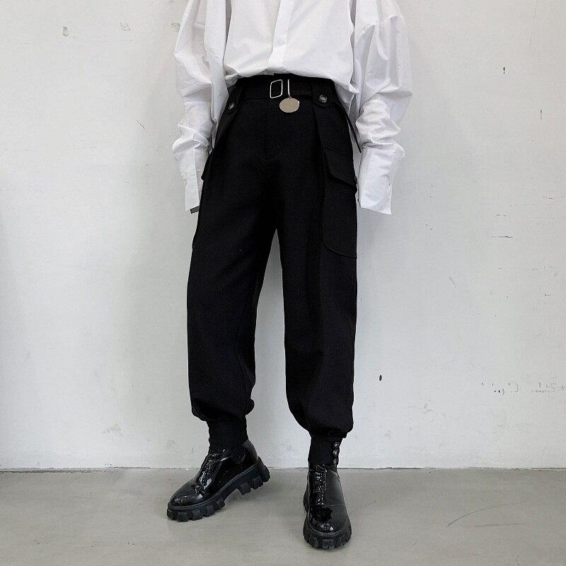 Men Japan Streetwear Punk Gothic Casual Pant Male Vintage Hip Hop Pocket Harem Trousers Stage Clothing Kimono Pant