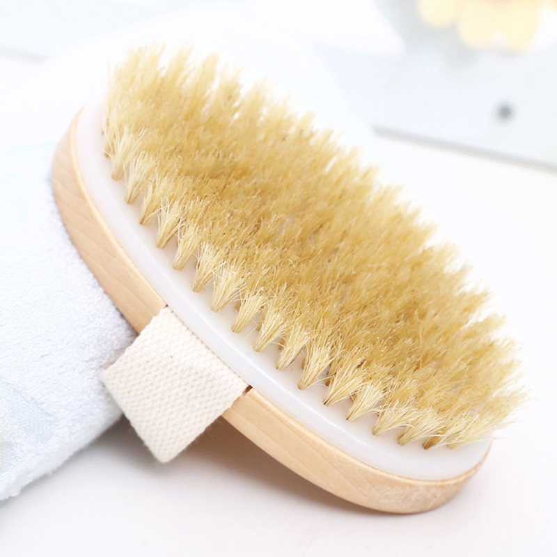Natural Bristle Bath Brush Bath Brush Soft Bristles Scrub Brush Body Massage Brush Easy To Clean Exfoliating Massage Brush