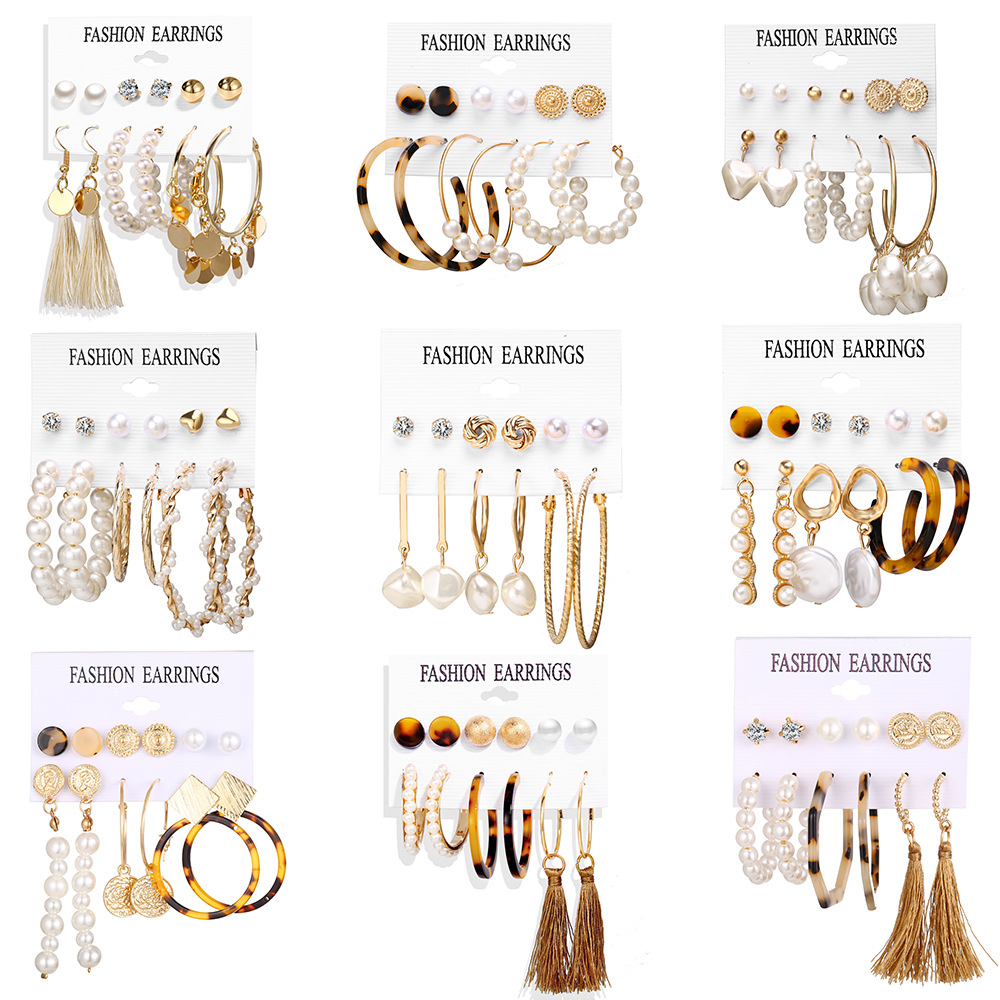 2020 Women Earrings Set Acrylic Pearl Earrings For Women Acrylic Earrings New Set Bohemian Leopard Tassel Stud Earrings Jewelry