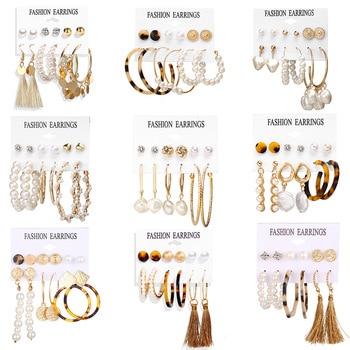 2020 Women Earrings Set Acrylic Pearl Earrings For Women Acrylic Earrings New Set Bohemian Leopard Tassel Stud Earrings Jewelry 2020 bohemian leopard acrylic pearl earrings set for women fashion geometry tassel handmade hoop stud earings jewelry gift set