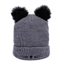 Men's Beanie Hat Letter Knitted Women Autumn Winter Warm Cat Ear Hats Adjustable Casual Soft Ski Bonnet Female Wool Hemming Hat(China)