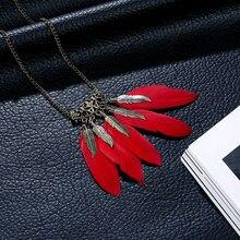 Venda quente boêmio retro oco personalidade colar de penas estilo étnico feminino pingente vermelho preto longo corrente camisola corrente jewelr