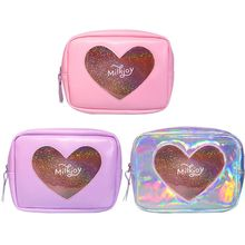 Holographic Travel Cosmetic Makeup Bag Transparent Heart Toi