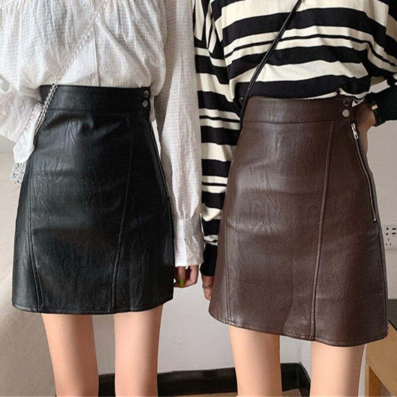 US $19.88 38% OFF Black Brown Faux Leather Skirt Women Autumn Side Zipper High Waist A line Pencil Skirt Short PU Leather Skirt Jupe En Cuir