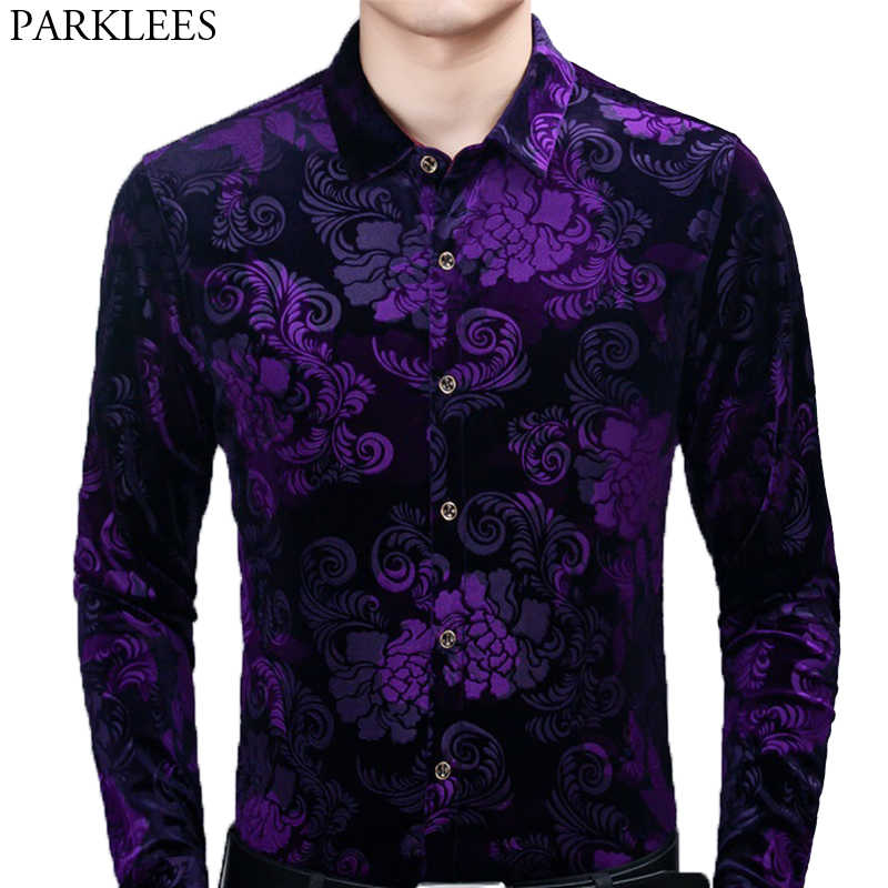 Shirt Stylish Luxury Long Sleeve Mens Slim Fit Top Casual Dress Shirts Floral