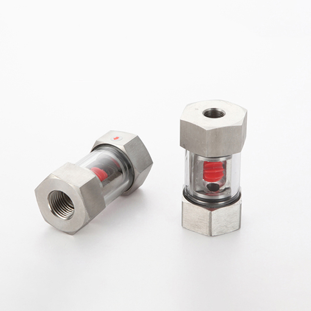 "1/4"" 3/8"" 1/2"" 3/4"" 1"" BSPT Female In-Line SS304 Stainless Window Sight Flow Indicator With Impeller Hydraulic Oil Water"