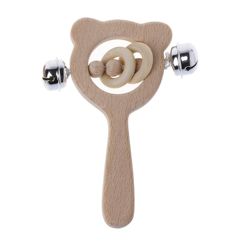 Bébé hêtre en bois hochet jouets Montessori jouets en bois bébé hochet anneau de dentition F42E
