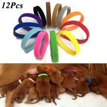 12 Pçs/set Identificar Recém-nascidos Animais de Estimação do Filhote de Cachorro Coleiras Coleiras de Nylon Ajustável Pequeno Animal de Estimação Colar de Gatinho Filhote de Cachorro Coleiras de Parto