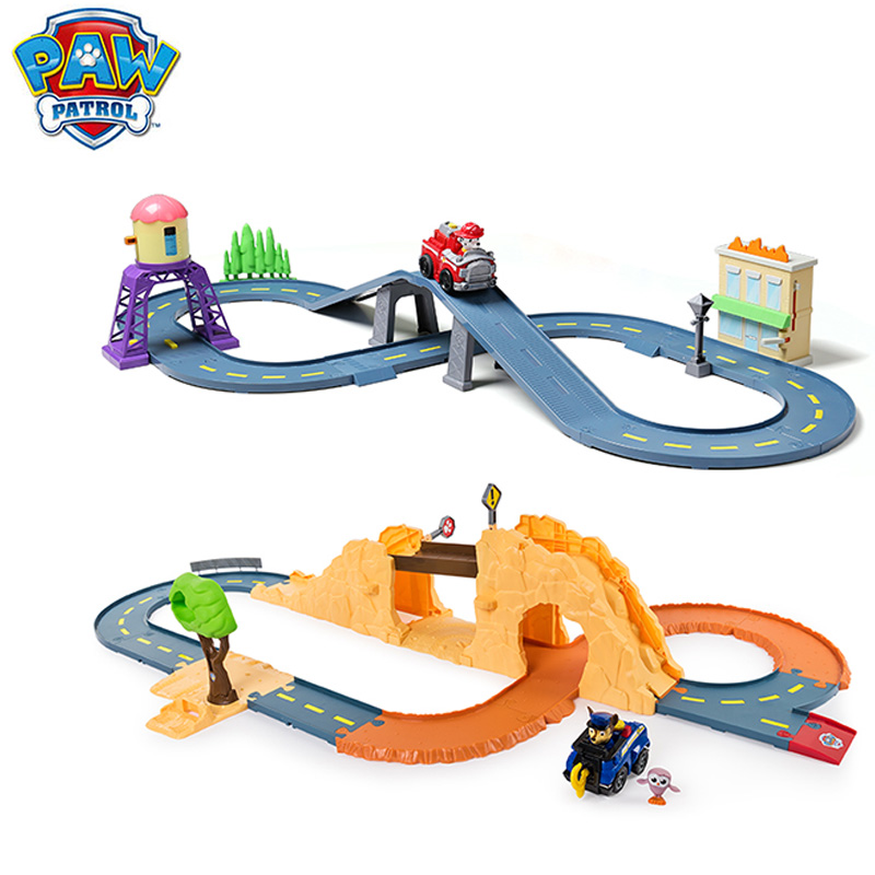 Оригинальная игрушка для щенячьего патруля, машины для мальчиков и девочек, прошитая дорожка, игрушечная игрушка для симуляции сцены, Набор