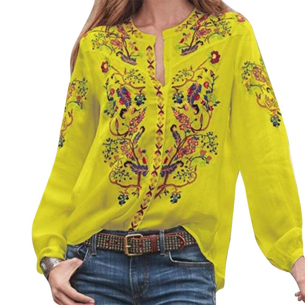 Этнические, праздничные топы с вырезом лодочкой, Повседневная Свободная Женская блузка с рукавом-фонариком, женская блузка из полиэстера с принтом, модная летняя женская блузка - Цвет: Цвет: желтый