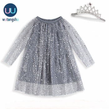 Baby Girl Dress With Crown Princess 1-8 Years Party Girls Tunic Dress Kids Clothing Robe Fille Shiny Children Dress Christmas lace girl party dress children clothing princess kids dresses for girls causal wear 2 3 5 6 7 years white vestido robe fille