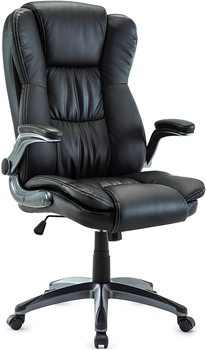 Ergonomic executive chair, office chair with flaps armrests, swivel chair leatherette 360 degree rotatable, Black