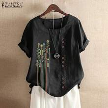 ZANZEA Vintage Summer Shirt Women Bohemian Printed Blouse Short Sleeve Cotton Li