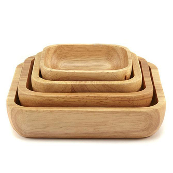4Pc Square Wooden Bowl Salad Bowl Set Wooden Plate Snack Dessert Service Bowl Food Container Wood Tableware