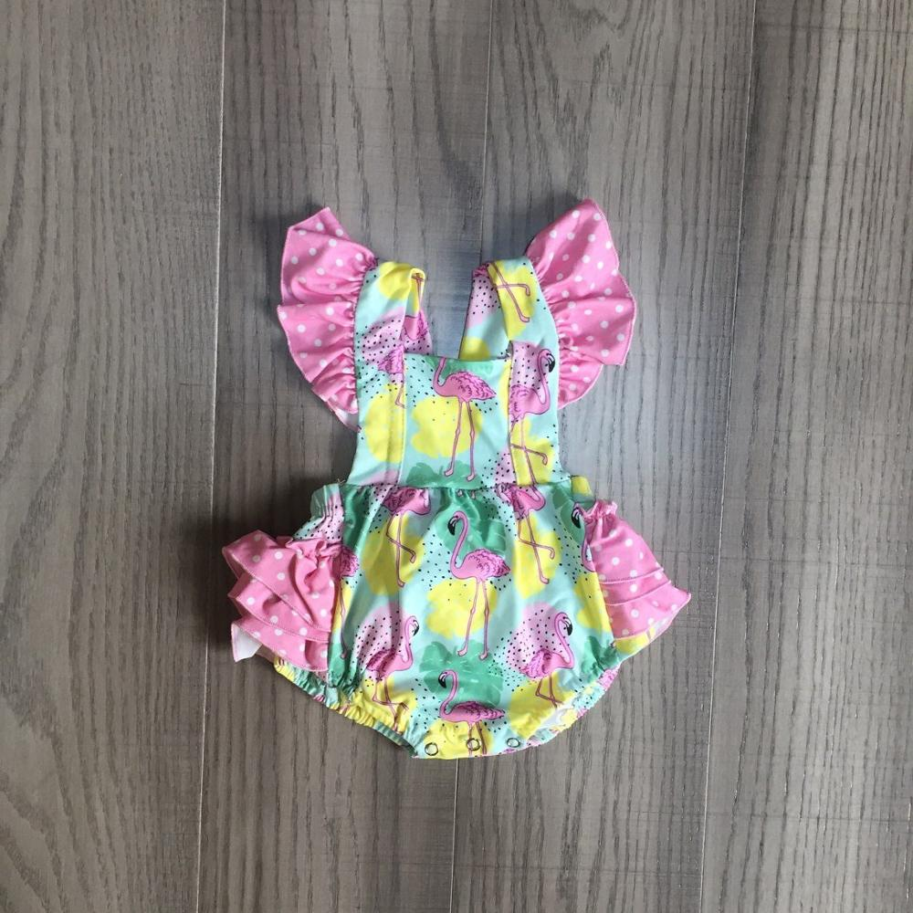Baby Girls Clothes Girl Summer Floral Romper Baby Kids Toddler Flamingo Romper