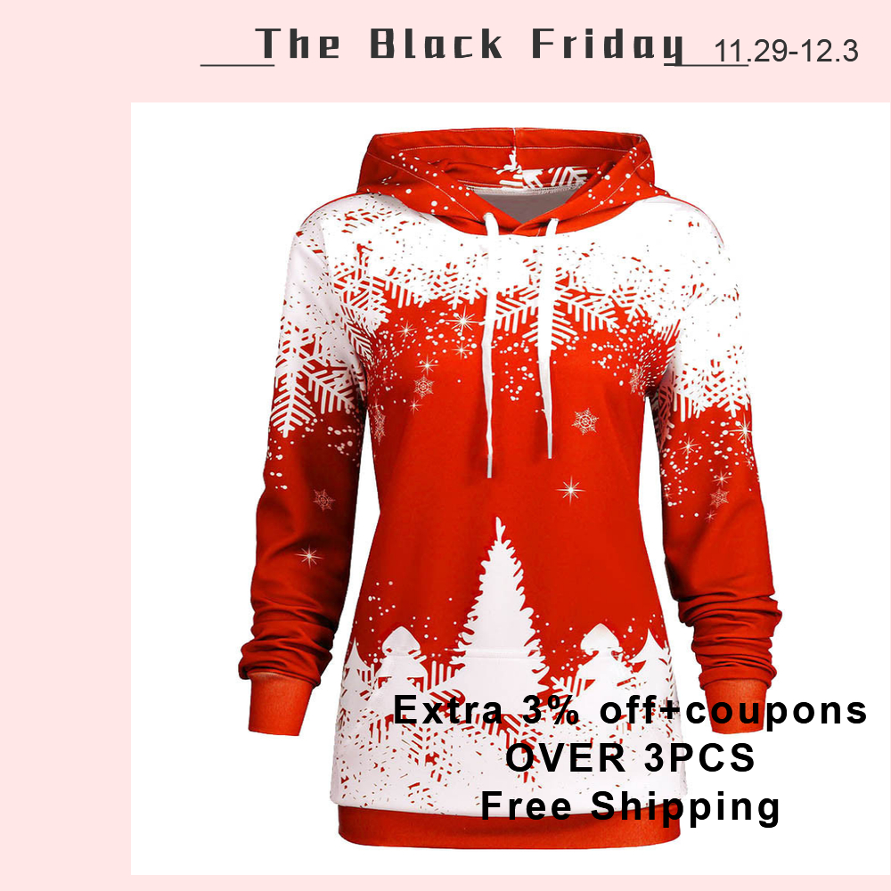 Hot sweatshirt women Christmas Hooded Print Long Sleeve Sweatshirt hoodies warm winter women clothes moletom feminina