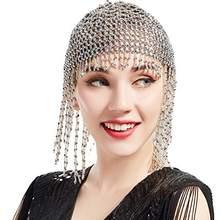 Meninas mulheres exóticas cleópatra frisado barriga dança cabeça boné chapéu acessório de cabelo ouro prata
