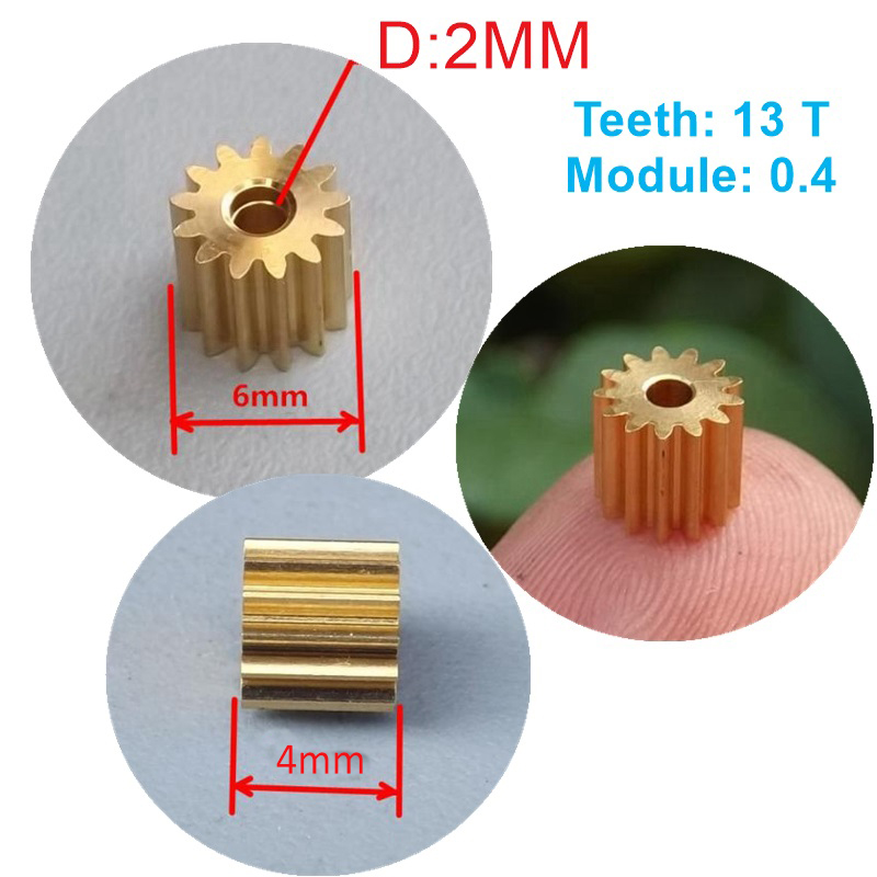 2PC 0.4 Modulus 13 Teeth Gear Outer Diameter 6mm Thickness 4mm For 2mm Rod Motor Shaft