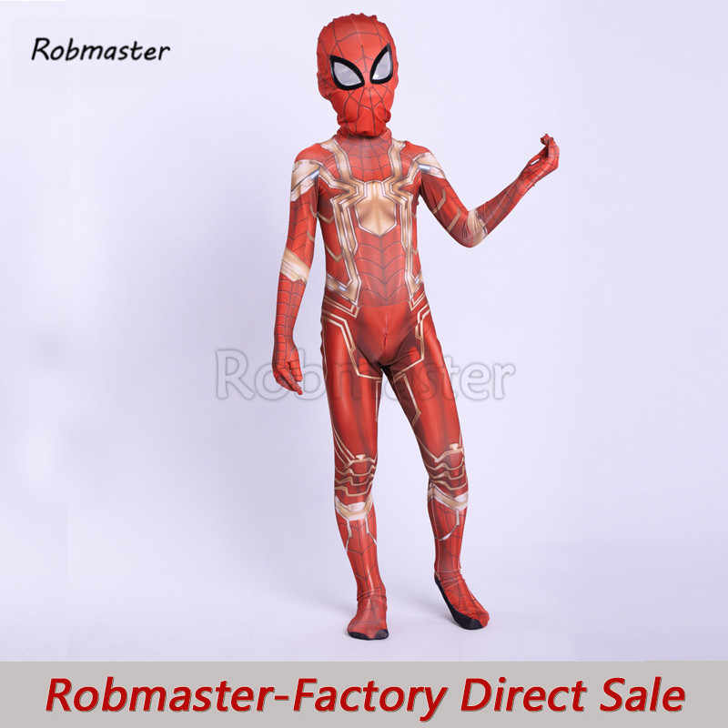 Kids Jongens Spider Rood Goud Iron Spider Cosplay Kostuum Iron Spider Superhero Halloween Party Pak Jumpsuits Voor Kinderen