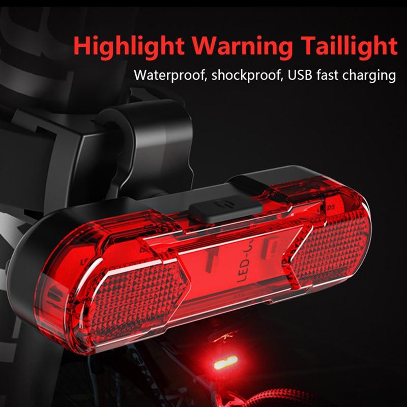 Велосипед Велосипедные фары Водонепроницаемый Мощность Безопасность светодиодный USB Перезаряжаемые Предупреждение свет фонарик задний ф...
