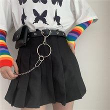 Dżinsy damskie z punkowym wiatrem z perforowanych pasów eam joker łańcuszek w talii małe kieszonkowe paski trend ze spódnicą