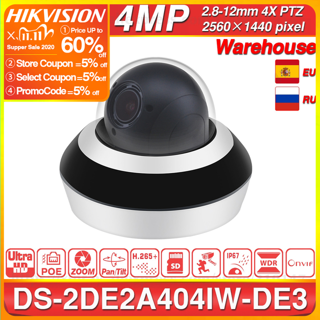 Hikvision PTZ IP kamera DS 2DE2A404IW DE3 4MP 4X yakınlaştırma ağı POE H.265 IK10 ROI WDR DNR Dome CCTV PTZ kamera