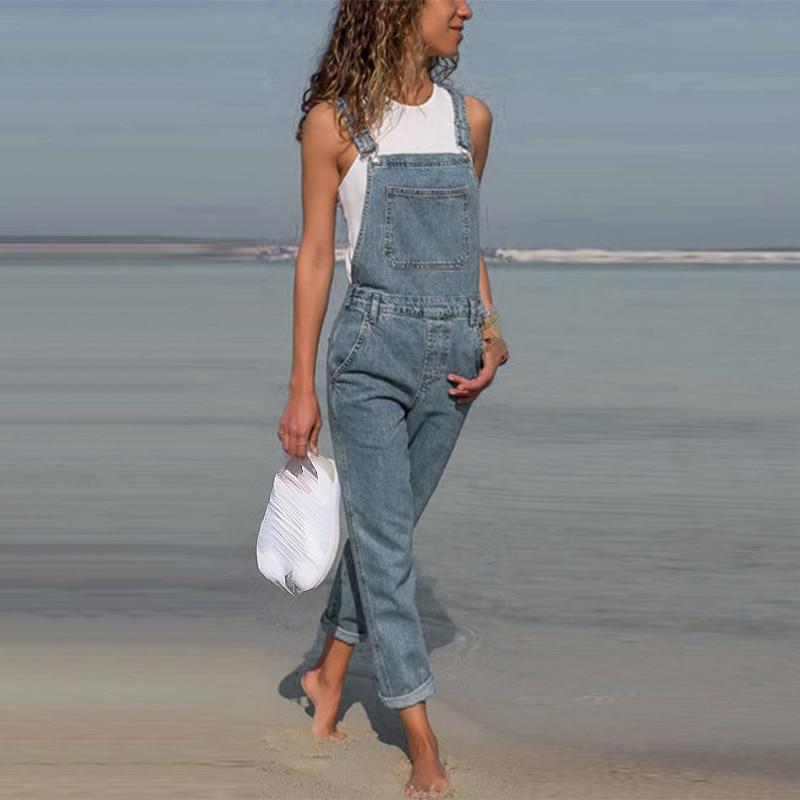 Women Denim   Jumpsuit   Jeans Straps Ripped Slim Fit Overalls Simple Plus Size Bib Fashion Cool Keyhole Solid Color Pockets Rompers