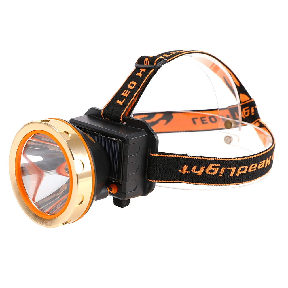 USB Solar Rechargeable LED Headlamp Flashlight Headlight with Emergency Power Bank Head Light 90 Degree Swivel Head for Camping|Outdoor Tools| |  -